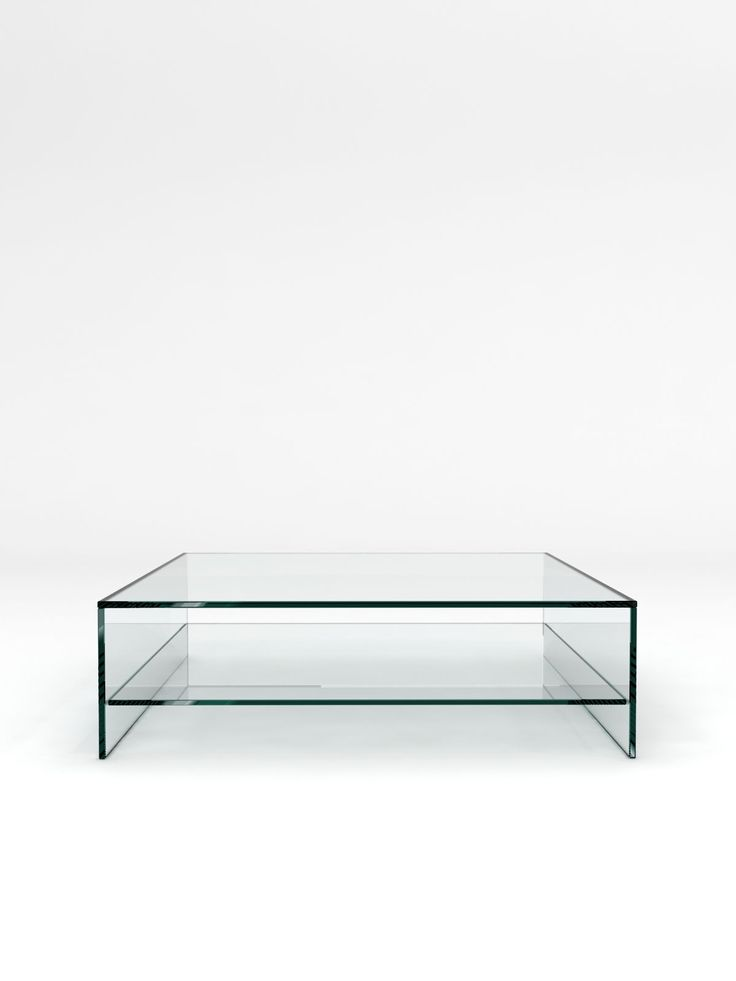 Crystal Glass Coffee Table With Shelf