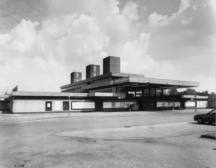 Harlow Train Station (1960) by H.H. Powell. Grade II listed station in the new town of Harlow, designed by British Railways Eastern Region Architects Department under H.H. Powell. Image from Art and Architecture.