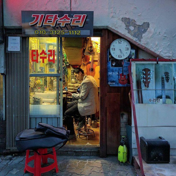 A small guitar-repair shop beneath the #Nakwon musical instrument mall in #Seoul #SouthKorea #nexus5x