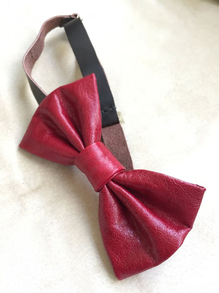 Leather+bow+tie+for+men+suit+accessories+groomsmen+bloody+red