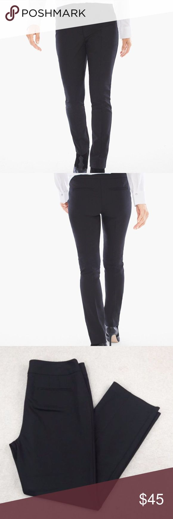 """Chico's So Slimming Seamed Black Chico's So Slimming Womens Pant Sz 12 (Chico's Sz 2 Short) Seamed Trousers Black  Rise:10.5"""" Waist:18"""" Inseam:29""""  Gently used with no flaws. Please see photos for exact details. Chico's Pants Skinny"""