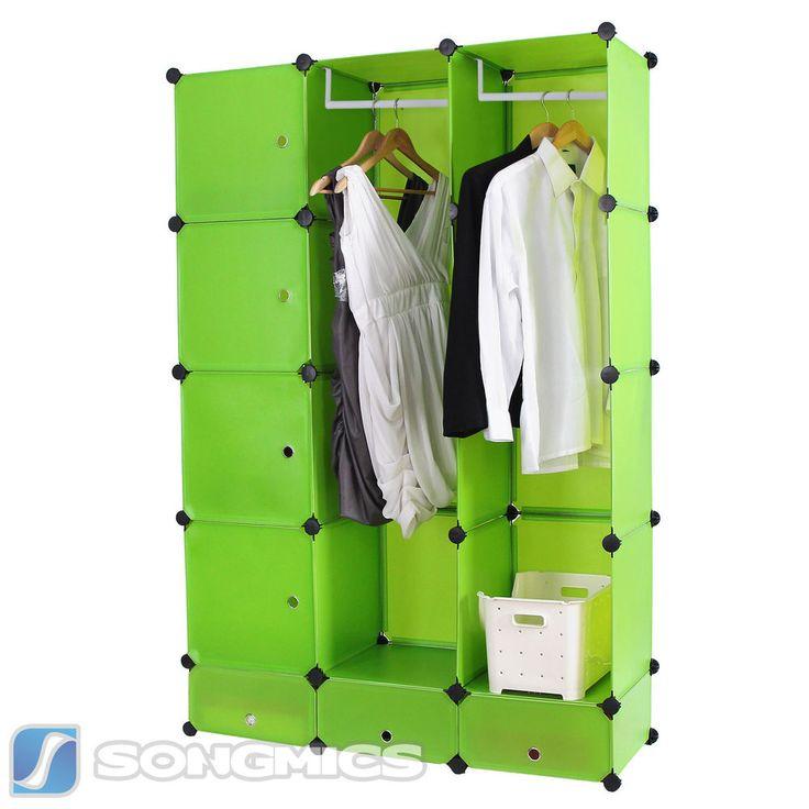 diy kleiderschrank standregal garderobe w scheschrank mit schubladen gr n lpc31g diy cube. Black Bedroom Furniture Sets. Home Design Ideas