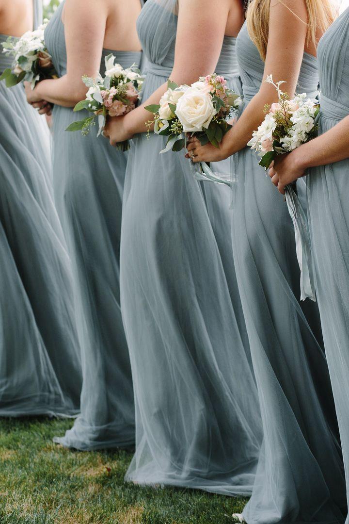 Dusty blue bridesmaid dresses + white and blush wedding bouquets | fabmood.com #beachwedding #dustyblue #dustybluebridesmaids