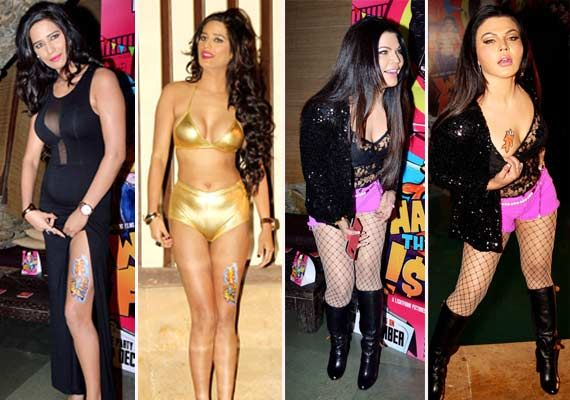 Poonam and Rakhi compete by stripping off at 'What The Fish' house party (view pics)