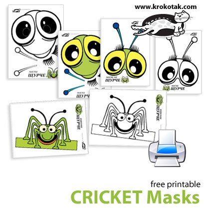 Cricket masks kids mask and costume pinterest for The cricket arts and crafts