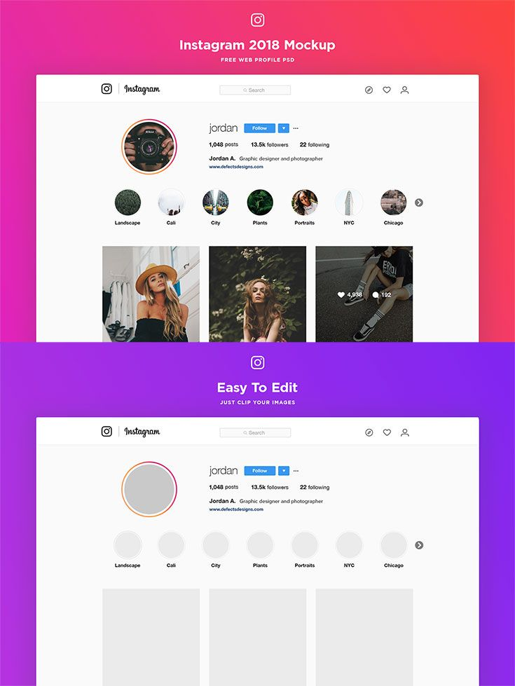 Free Instagram Web Profile Template Was Coming From Jordan Andrews It Comes