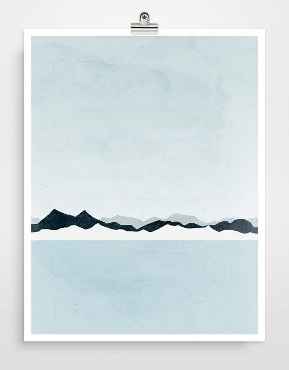 Icy Mountains Abstract Landscape Art Print Minimalist by evesand