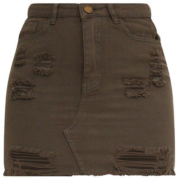 Khaki Distressed Rip Denim Mini Skirt ($40) ❤ liked on Polyvore featuring skirts, mini skirts, denim skirts, denim miniskirt, denim mini skirt, short skirts and ripped skirt