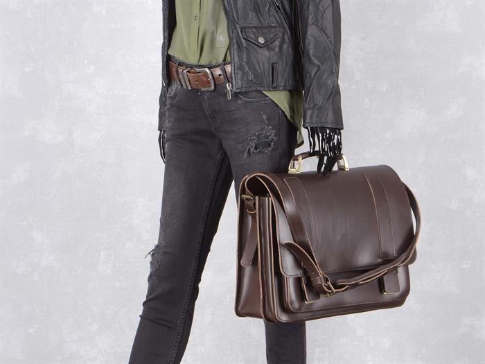 Aktentasche mit 2 Fächern Leder Herren Damen Schultasche Lehrertasche Businesstasche Tasche Umhängetasche braun