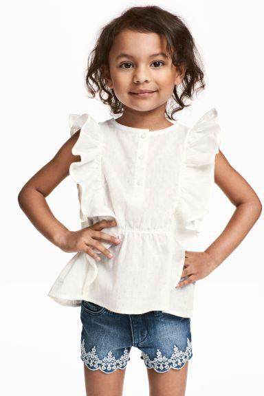 Katoenen blouse - Wit - KINDEREN | H&M NL