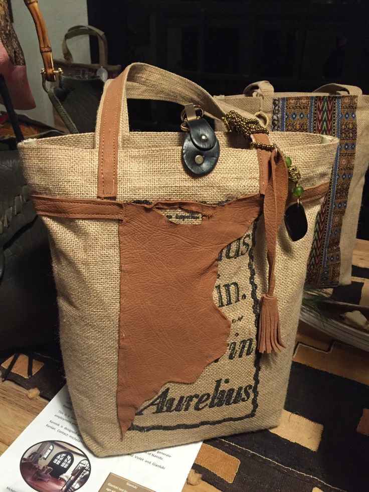 Jute tote bag with leather decoration handmade high quality finishing