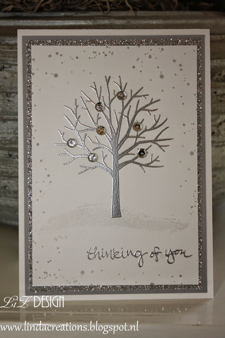 handmade winter card ... Sheltering Tree embossed in silver ... double silver matting ... delightful! ... Stampin' Up!