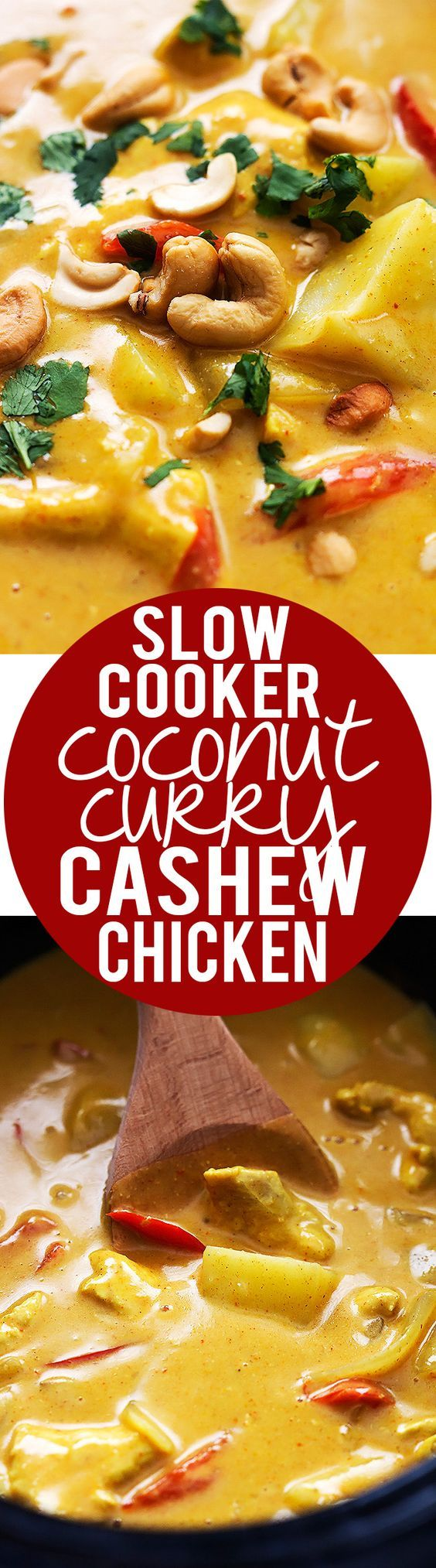 Slow Cooker Coconut Curry Cashew Chicken Recipe plus 49 of the most pinned crock pot recipes