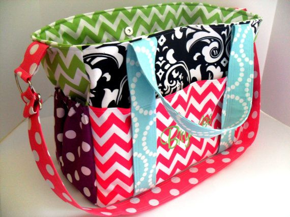Extra Large Diaper Bag Made of Chevron Fabric/ by fromnancy, $99.00
