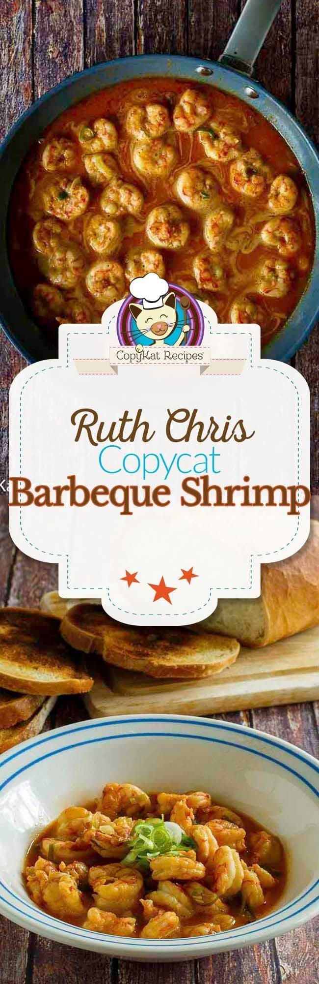 Make your own Ruth Chris Steakhouse Barbeque Shrimp at home with this easy copycat recipe.