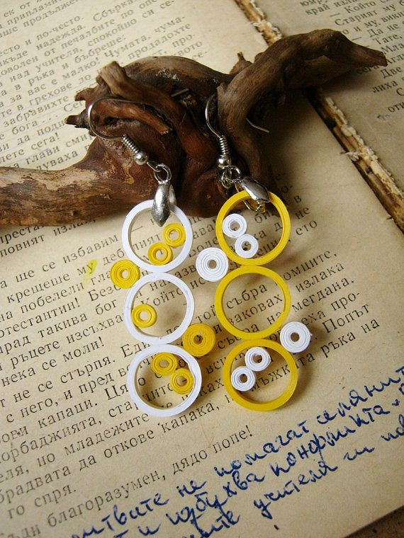 Modern art paper  jewelry white and lemon yellow paper earrings eco friendly paper gift anniversary 1st Wedding