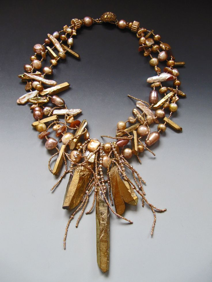 Quartz crystals with gold electroplating, fresh water pearls, tendrils of antique French brass seed beads LuciaAntonelli.com