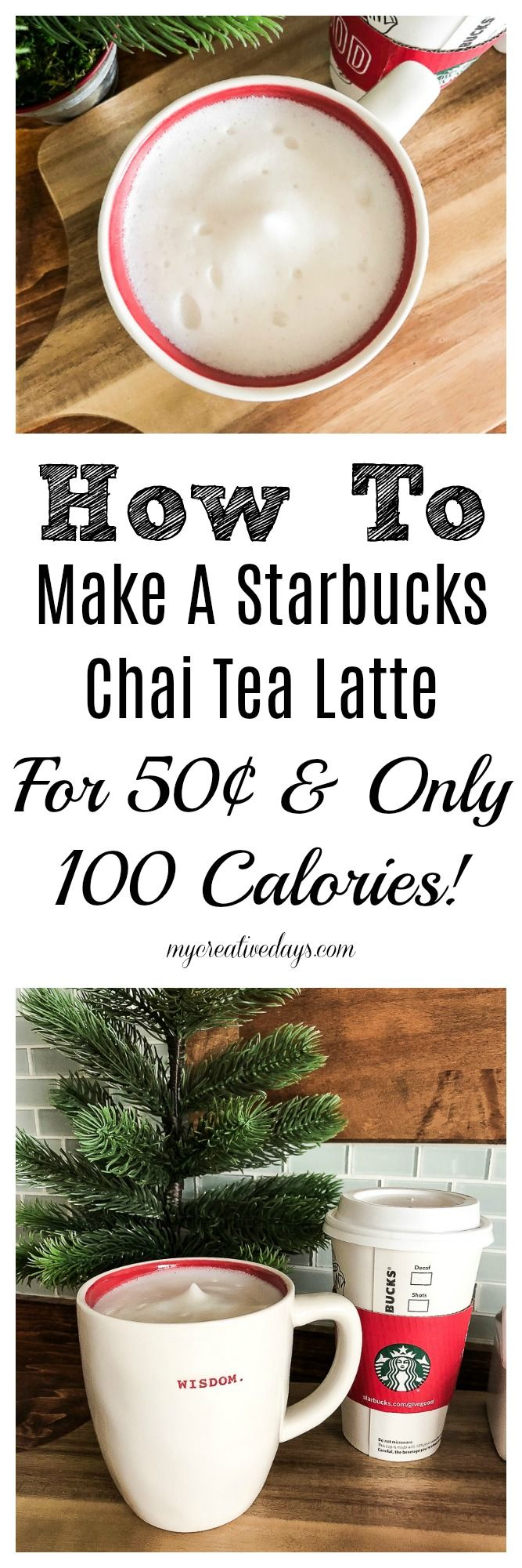 If you love Starbucks, but want to find a way to save money and calories when you enjoy your favorite drink, look no further. This homemade Starbucks Chai Tea Latte recipe costs 50¢ to make and only has 100 calories in it!