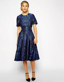 Formal cocktail midi dress with sleeves | Follow Mode-sty for stylish modest clothing #nolayering