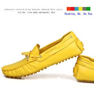 Promotion price Korean fashion trend yellow men's spring leather breathable Peas shoes British sailing shoes just only $50.50 with free shipping worldwide  #menshoes Plese click on picture to see our special price for you