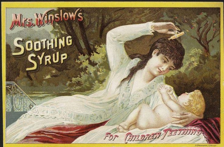 Soothing Syrup one grain (65 mg) of morphine per fluid ounce, cannabis, heroin, powdered opium, which are the active ingredients to put your little one to sleep. It also had sodium carbonate, spirits foeniculi, and aqua ammonia