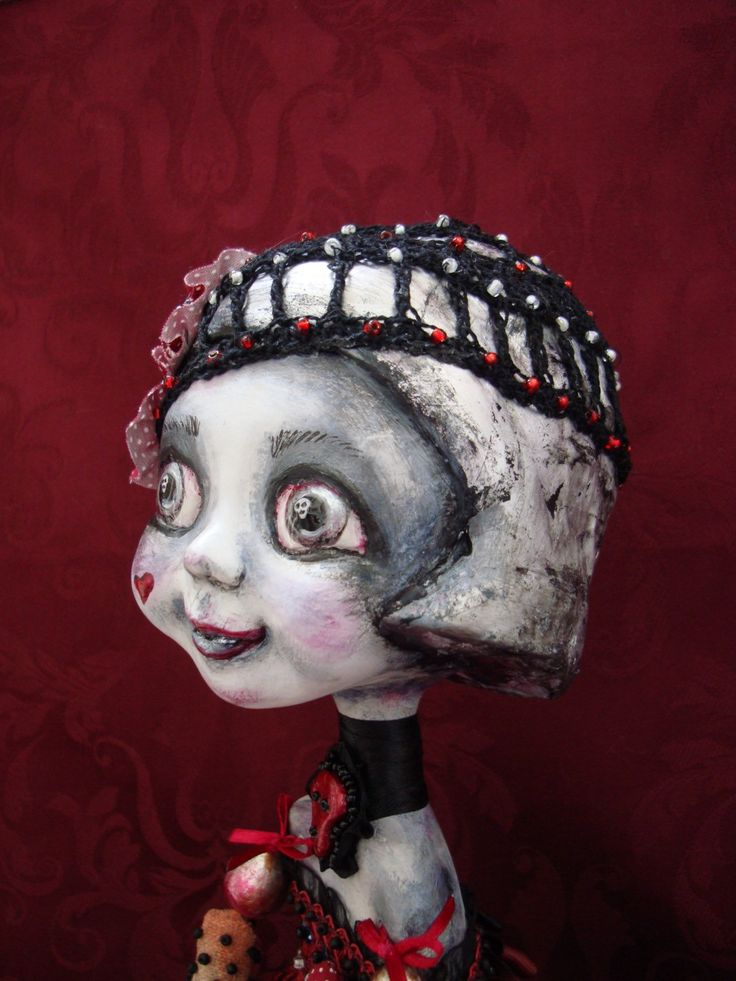 Gothic doll in love - Whimsical doll with sculls - Art interior big eyed doll - Collectible poseable doll as gift by DreamTrainOfDolls on Etsy https://www.etsy.com/listing/266366023/gothic-doll-in-love-whimsical-doll-with