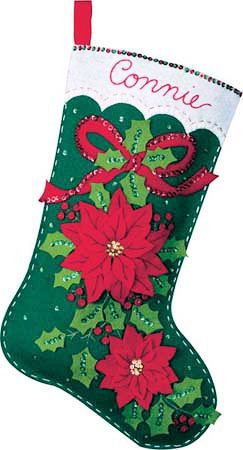 Bucilla 18 Elegant Pointsettia Stocking Kit by SCMShoppingSpree, $24.99