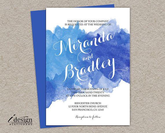 DIY Blue Watercolor Wedding Vow Renewal Invitation | Printable Ombre Wedding Reaffirmation Invitations | Anniversary Watercolour Invites
