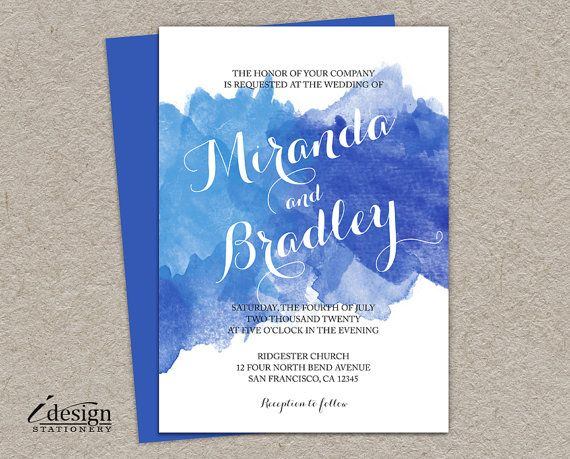 DIY Blue Watercolor Wedding Vow Renewal Invitation | Printable Ombre Wedding Reaffirmation Invitations | Anniversary Watercolour Invites