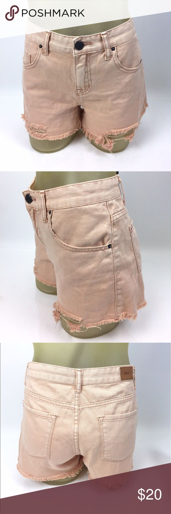 """BDG Mid Rise Freja Vintage Fit Cutoff Jean Shorts Peachy colored cut off jean short with distressing by BDG. 100% cotton. 32"""" waist, 9.5"""" mid rise, 3"""" inseam. Excellent preowned condition. A04040 Urban Outfitters Shorts Jean Shorts"""