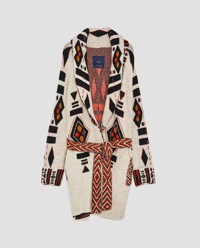JACQUARD COAT WITH BELT-Coats-OUTERWEAR-WOMAN | ZARA United States