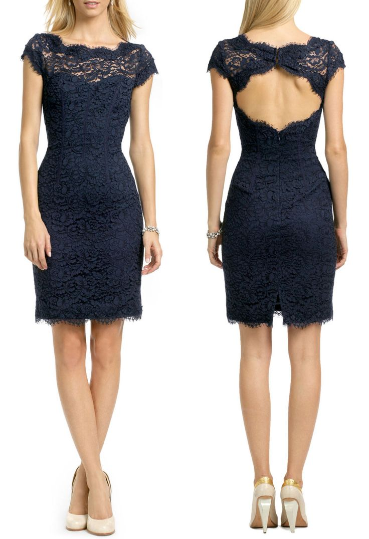 This is the look I want for my beautiful Bridesmaids! Winter Bridesmaid Gown - love the color and the style! Lace Pencil Dress by MONIQUE LHUILLIER