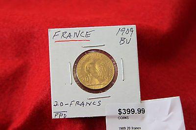 France GOLD Coin . 20 Francs 1909. LIBERTE EGALITE FRATERNITE bu