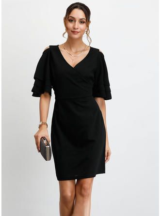 VERYVOGA Solid 1/2 Sleeves Sheath Above Knee Little Black/Party Dresses