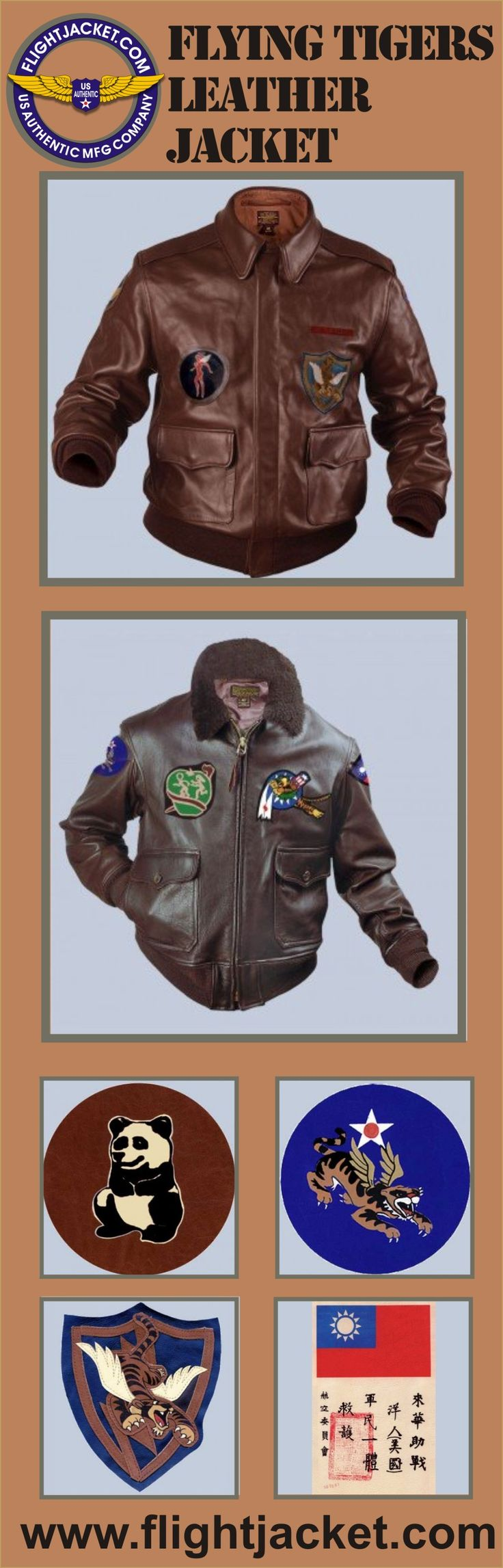 Flying Tigers A2 Leather Jacket. Comes as an A-2 or G-1 Jacket. Explore the collection of our military spec. flight jackets at a discounted price. Made IN THE USA www.flightJacket.com