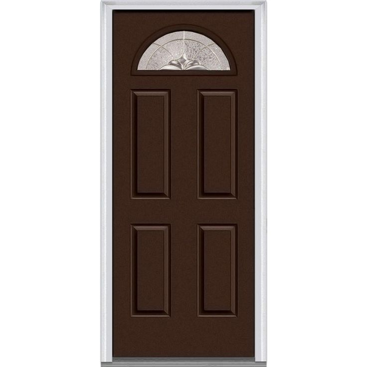 Milliken Millwork 37.5 in. x 81.75 in. Heirloom Master Decorative Glass 1/4 Lite Painted Majestic Steel Exterior Door, Polished Mahogany