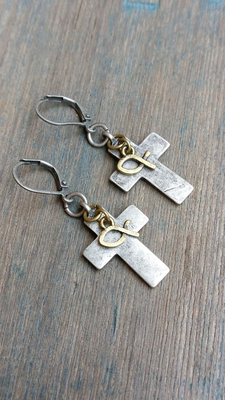 Cross and Fish Earrings - Ichthys Earrings - Mixed Metal Cross Earrings by TheLivelyBazaar on Etsy