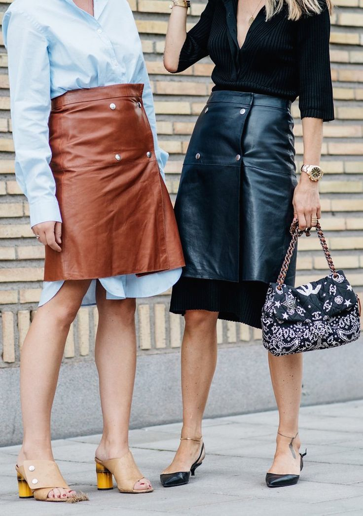 Leather skirts, street style