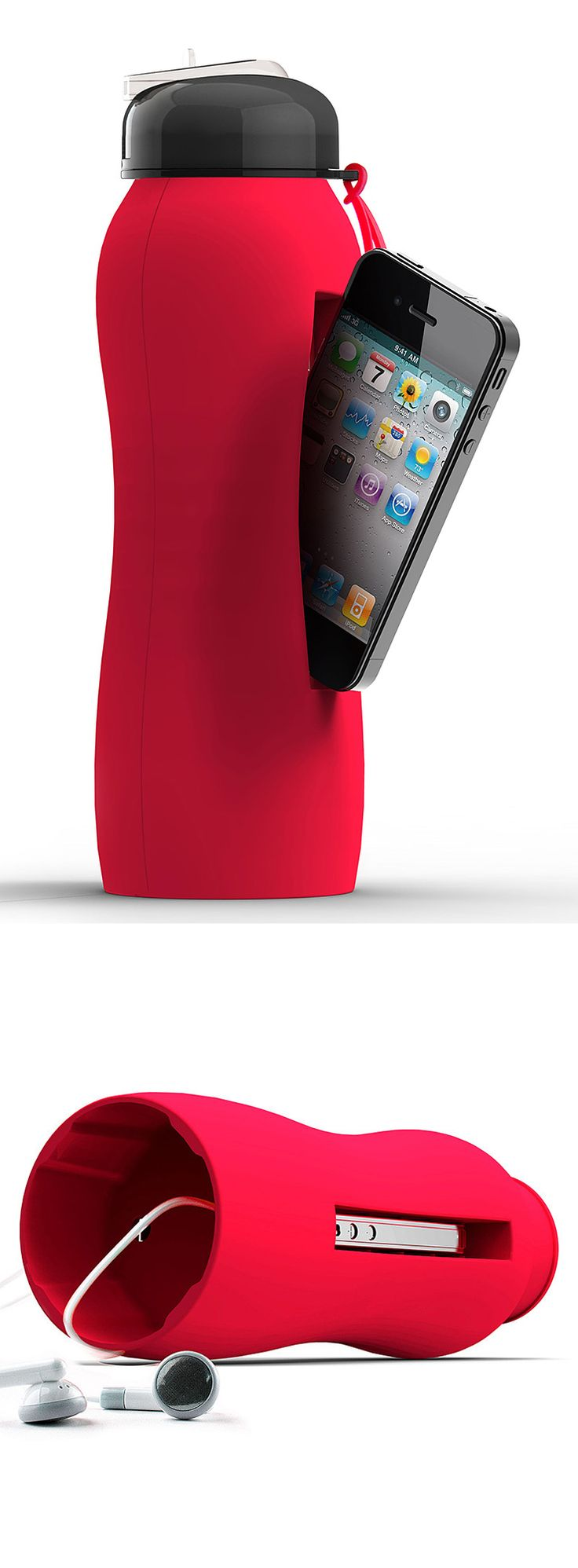 Water bottle with an iPhone compartment