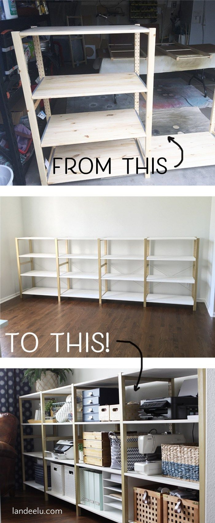 Over 11 linear feet of chic shelving made from super cheap IKEA storage shelves! This is an awesome IKEA hack.