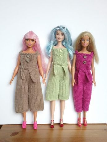 Free knitting pattern for Barbie Jumpsuit. to fit regular barbie, and Curvy and …