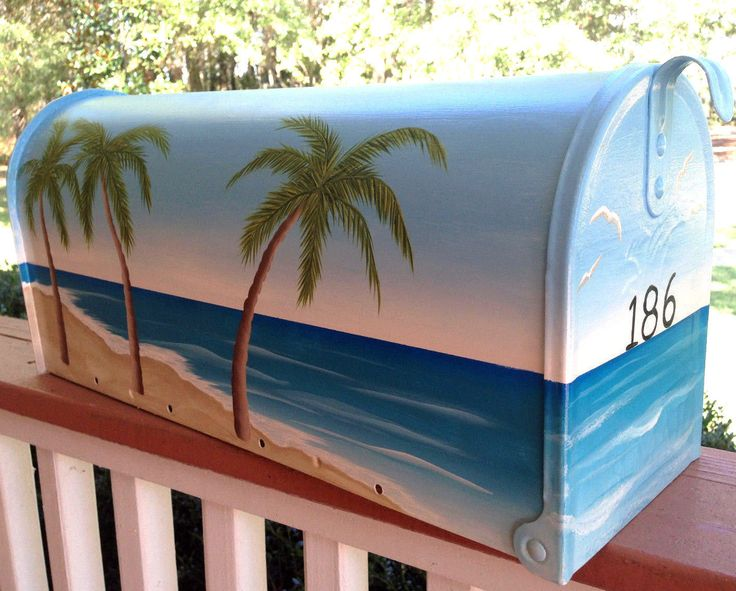 http://www.cottageandcabana.com/Hand-Painted-Mailboxes-Post-Mounts_c2.htm  Beautiful hand painted beach scene mailbox by Cottage and Cabana