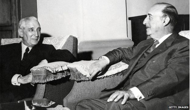 Antonio Salazar of Portugal and Francisco Franco of Spain meeting in 1960. The last two Fascist dictators of Europe.
