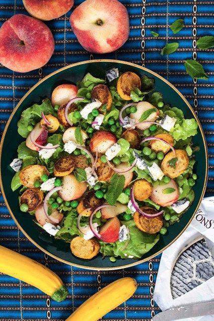 Hemsley & Hemsley: Peach, Pea & Goats' Cheese Salad (Vogue.com UK)