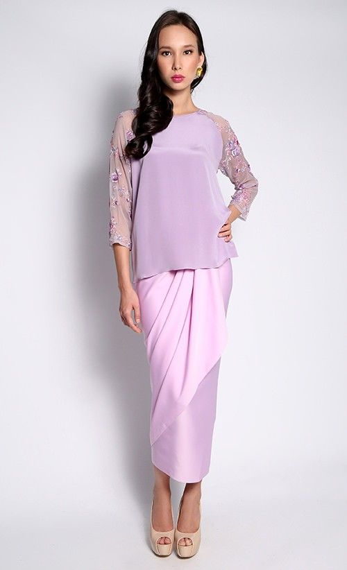 Crepe Silk Top with Embroidered and Embellished Chiffon Sleeves and French Crepe Sarong Set :: Alia Bastamam
