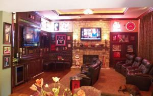 accessorize sports bar booth, decor, DIY, family room, seating, sports bar, stadium seating, TV.