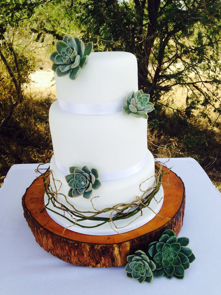 White simplicity rustic wedding cake. white  3 tier with rock roses and willow branches. By: www.helens-cake-craft.co.za