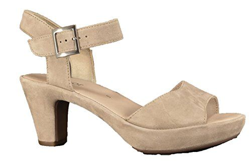 Gabor Fashion Damenschuhe 45.751.53 Damen Sandalette Sandale Leder (Wildleder) Grau (visone(ohne Strass), EU 35.5 - http://on-line-kaufen.de/gabor/3-uk-gabor-fashion-damenschuhe-45-751-damen