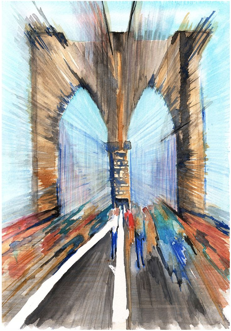 Brooklyn Bridge  by @artoutloop #painting #illustration #art #print #newyorkcity #bridge #brooklynbridge #watercolor