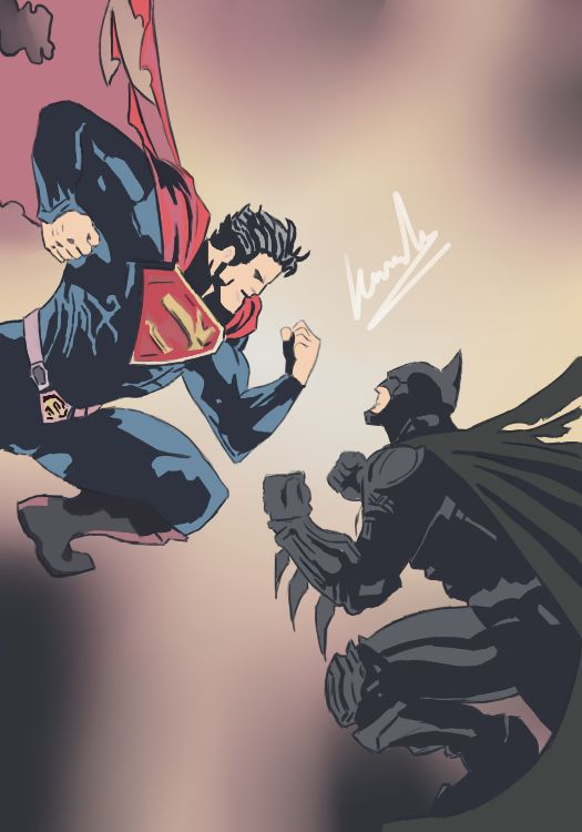 #Superman vs #Batman #Drawing #Painting #Draw #Paint #Art #Artistic #Picture #Graphics #Comic #DC